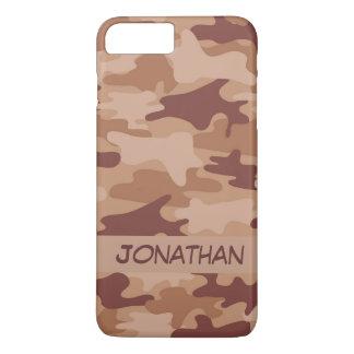 De bruine Gepersonaliseerde Naam van de Camouflage iPhone 8/7 Plus Hoesje