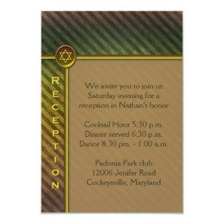 De bruine, Groene Gestreepte Kaart van de Bijlage 8,9x12,7 Uitnodiging Kaart