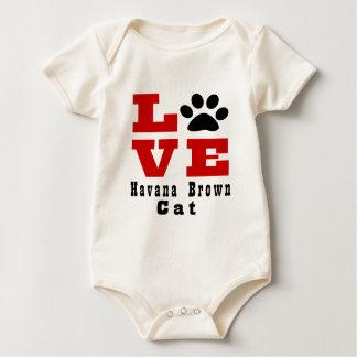 De Bruine Kat Designes van Havana van de liefde Baby Shirt
