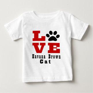 De Bruine Kat Designes van Havana van de liefde Baby T Shirts