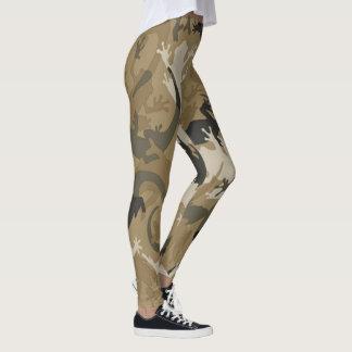 De bruine ReptielBeenkappen van de Camouflage Leggings