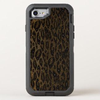 De bruine Zwarte Sterren van de Jachtluipaard OtterBox Defender iPhone 8/7 Hoesje