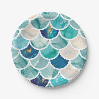 De bruisende Aqua turkooise marmeren schalen van Papieren Bordje
