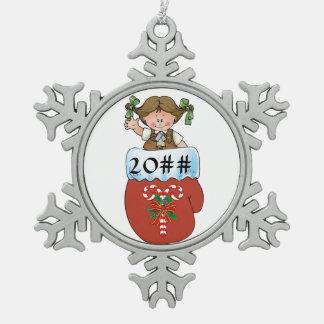 De Brunette van de Vuisthandschoen van de brownie Tin Sneeuwvlok Ornament