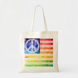 De Buitenissige Vlag van de Vrede van de hippie Budget Draagtas
