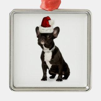 De Buldog van Dogs~Original Ornament~French van Zilverkleurig Vierkant Ornament