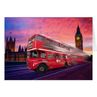 De bus en Big Ben van Londen Wenskaart