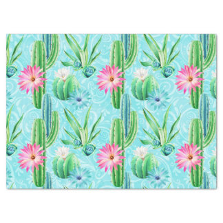 De cactus bloeit roze blauwgroene succulent tissuepapier