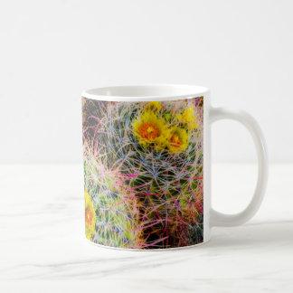 De cactus dichte omhooggaand van het vat, koffiemok