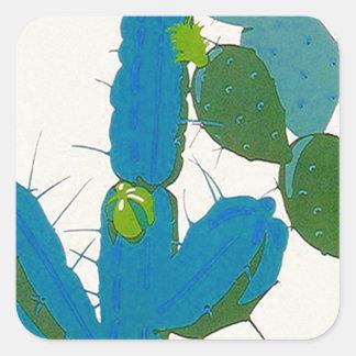 De Cactus Retro Turkooise Avacado SW AZ van de Vierkante Sticker