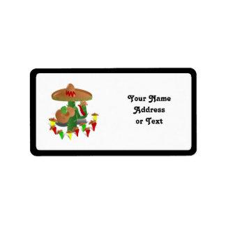De Cactus van de fiesta met Gitaar & Dansende Etiket