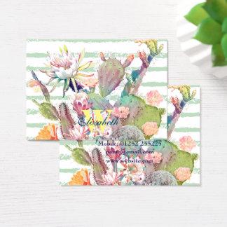 De cactus van de waterverf, bloemen en visitekaartjes