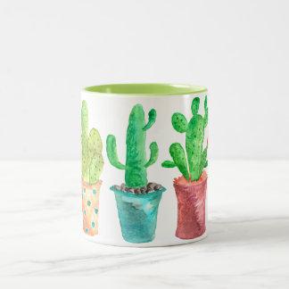 De Cactus van de waterverf Tweekleurige Koffiemok