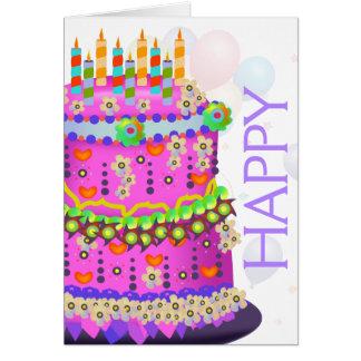 """De Cake & de Ballons van de """"gelukkige Verjaardag"""" Kaart"""
