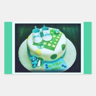 De Cake van de Douche van de Jongen van het baby Rechthoekvormige Sticker