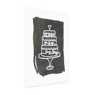 De Cake van het Huwelijk van de krabbel met Gouden Stretched Canvas Afdrukken