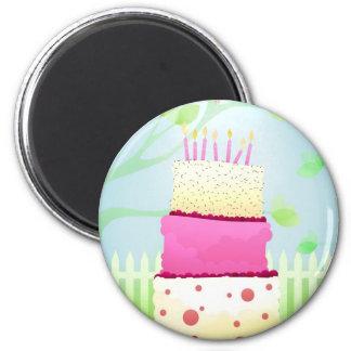 De cakemagneten van de verjaardag ronde magneet 5,7 cm