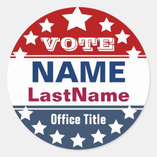 De Campagne van de verkiezing Ronde Sticker