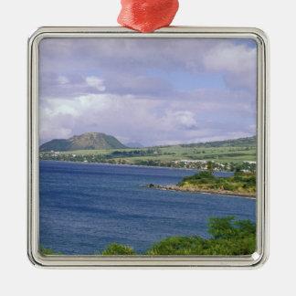 De Caraïben, St. Kitts, Roseau. Kust Zilverkleurig Vierkant Ornament