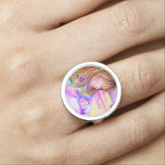 De carrousel droomt Klantgerichte Zilveren Ronde Ring