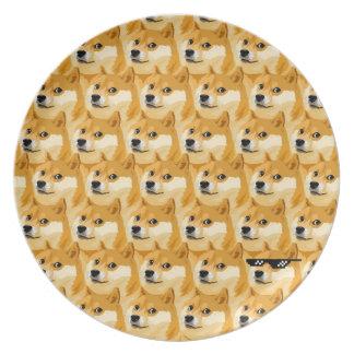 De cartoon van de doge - dogetextuur - shibe - melamine+bord