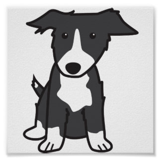 De Cartoon van de Hond van border collie Poster