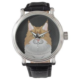 De Cartoon van de Kat van de Wasbeer van Maine Horloges