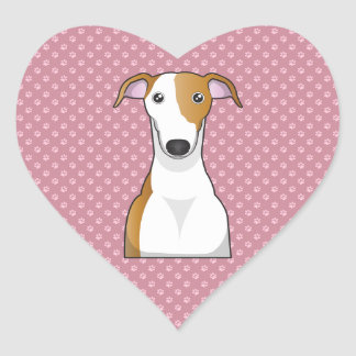 De Cartoon van de windhond Hart Stickers