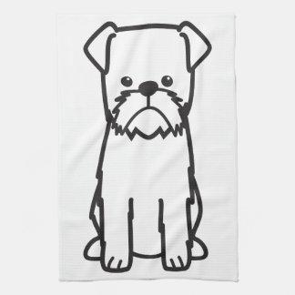 De Cartoon van het Hondenras van Brussel Griffon Theedoek