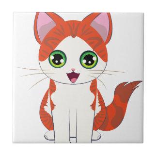 De Cartoon van het Katje van de gember Tegeltje