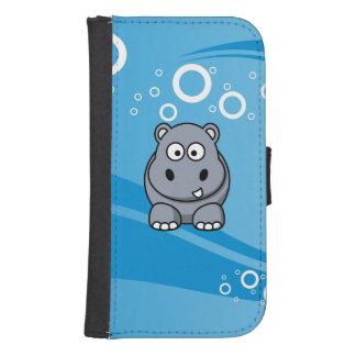De Cartoon van Hippo met de Blauwe Achtergrond van Galaxy S4 Portemonnee Hoesje