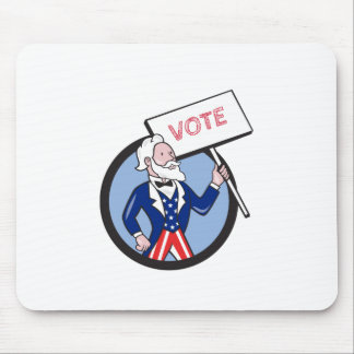 De Cartoon van oom Sam Holding Placard Vote Cirkel Muismat