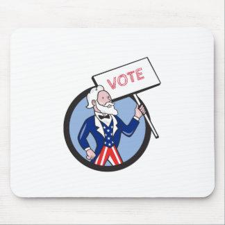 De Cartoon van oom Sam Holding Placard Vote Cirkel Muismatten