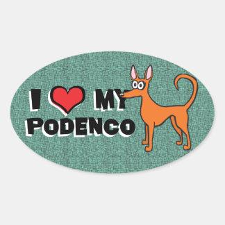 De cartoon van Podendo Ovale Sticker
