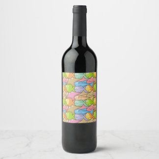 De cartoon van vissen wijnetiket