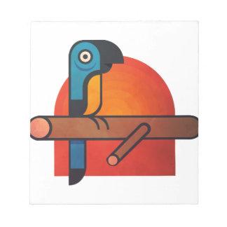 De cartoonart. van de papegaai notitieblok