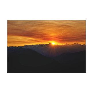 De Cascades van het Noorden van de zonsopgang Canvas Afdruk