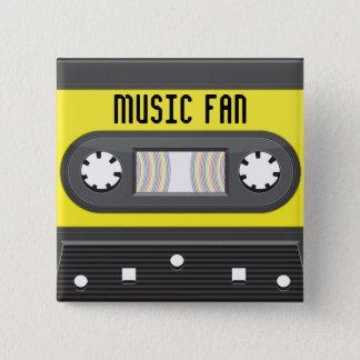 De cassette van de muziek fab met de knoop van de vierkante button 5,1 cm