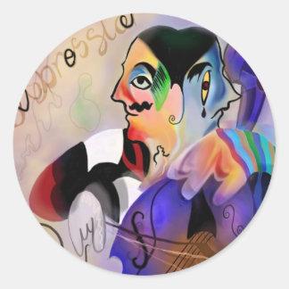 De cellist ronde sticker