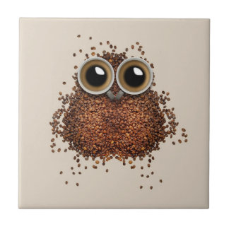 De ceramiektegel van de Uil van de koffie Keramisch Tegeltje