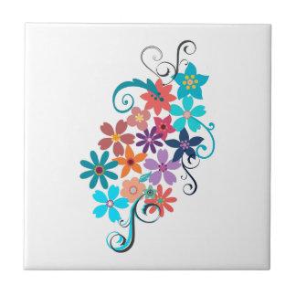 De ceramische Kleurrijke Bloemen van de Tegel van Tegeltje