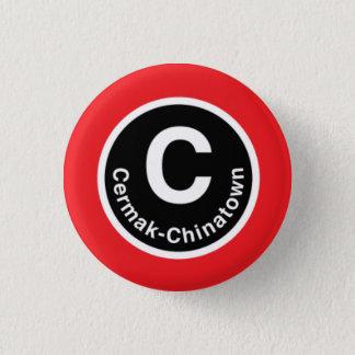 De cermak-Chinatown van Chicago L de Rode Knoop Ronde Button 3,2 Cm