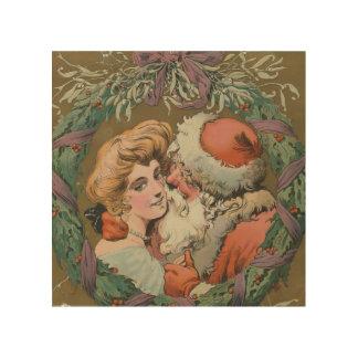 De charmante Vintage het Kussen Kroon van Kerstmis Hout Afdruk