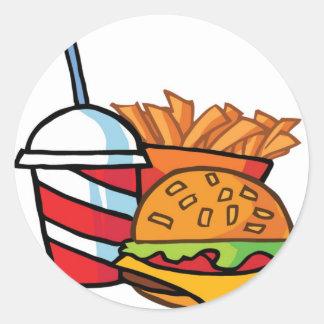 De Cheeseburger van het snelle Voedsel Ronde Sticker