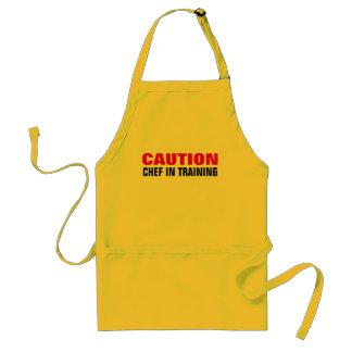 De chef-kok van de voorzichtigheid in standaard schort