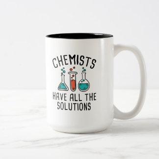 De chemici hebben Alle Oplossingen Tweekleurige Koffiemok