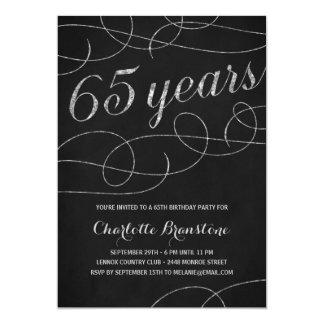 De chic Zilveren 65ste Partij van de Verjaardag 12,7x17,8 Uitnodiging Kaart