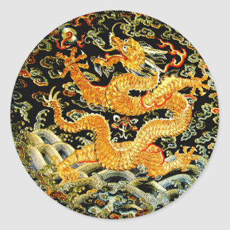 De Chinese dierenriemantiquiteit borduurde gouden Ronde Sticker