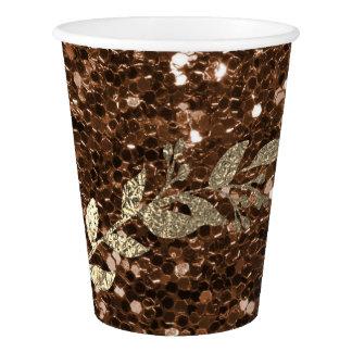De chocolade Coffe schittert Metaal Foxier Gouden Papieren Bekers