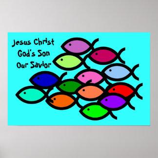 De Christelijke Symbolen van Vissen - de School Poster